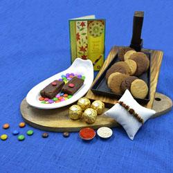 Pretty Rudraksha Rakhi n Fancy Rakhi Set with Card with Assorted Cookies, Dry Brownie n Ferrero Rocher<br>