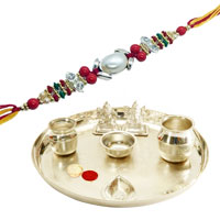 Delightful Present of Silver Plated Pooja Thali with 1 Free Rakhi, Roli Tilak and Chawal on Raksha Bandhan