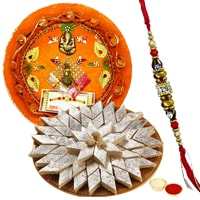Sumptuous Gift of <font color=#FF0000>Haldiram</font>s Kaju Katli and Pooja Thali with Rakhi, Roli Tilak and Chawal