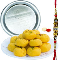 Remarkable Present of Kesar Pedas from Haldiram and  Impressive Silver Plated Thali with Free Rakhi Roli Tilak and Chawal
