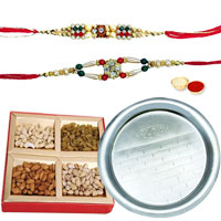 Fantastic Arrangement of Pooja Thali N Assorted Dry Fruits with 2 free Rakhi, Roli Tilak and Chawal for Rakhi Celebration