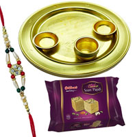 Delicious Soan Papri from Haldiram and Holy Silver Plated Thali Gift Set with free Rakhi, Roli Tilak and Chawal on Raksha Bandhan