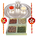 Charismatic Selection of Pure Silver Thali and Mixed Dry Fruits with Free Rakhi, Roli Tilak and Chawal for the Occasion of Raksha Bandhan