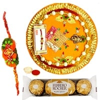 Charismatic Arrangement of Ferrero Rocher Chocolates and a Special Pooja Thali with Free Rakhi, Roli Tilak and Chawal for Rakhi Celebration