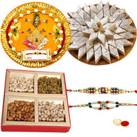 Traditional Rakhi Gift of Pooja Thali, Mixed Dry Fruits and Delicious Kaju Katli with 2 Free Rakhi, Roli Tika and Chawal