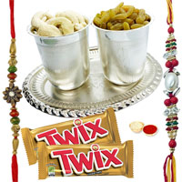 Delightful Pooja Thali decked with Parker Pen, Twix Chocolates and 2 Free Rakhi, Roli Tika Chawal for Raksha Bandhan
