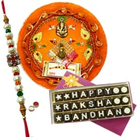 Smashing Combo Gift Pack of Decorative Thali and Homemade Raksha Bandhan Chocolate with Free Rakhi, Roli Tilak N Chawal for Raksha Bandhan Celebration