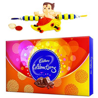 Amazing Gift Box of Celebration Chocolate with Trendy Hanuman Rakhi and Roli Tilak, Chawal for Rakhi Special