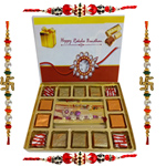 Delectable Present of Assorted Homemade Chocolates with 4 Rakhi, Roli Tilak and Chawal for Rakhi Celeration