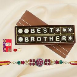 Attractive Rakhi, Roli Tilak N Chawal with Best Brother Chocolate Gift Box of Eighteen Pieces for your Dear Brother