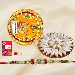 Popular Present of Haldiram Kaju Katli and Rakhi Thali with Free Rakhi, Roli Tilak N Chawal for your Beloved One