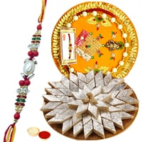 Popular Present of <font color=#FF0000>Haldiram</font> Kaju Katli and Rakhi Thali with Free Rakhi, Roli Tilak N Chawal for your Beloved One
