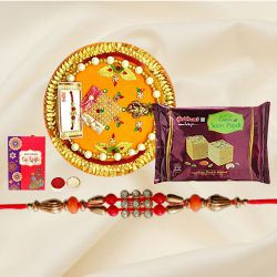 Delicious Pack of Soan Papri from Haldiram and Designer Rakhi Thali with Rakhi, Roli Tilak and Chawal for Rakhi Celebration