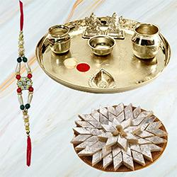 Fabulous Arrangement of Kaju Katli from Haldiram and Stylish Silver Plated Paan Puja Aarti Thali along with Rakhi, Roli Tilak and Chawal for Raksha Bandhan