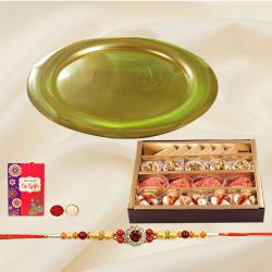 Auspicious Gold Plated Puja Thali and Assorted Sweets from Haldiram with Free Rakhi, Roli Tilak and Chawal for Special Rakhi Festival