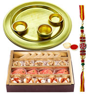 Haldirams Assorted Sweets N Golden Plated Lota Puja Thali