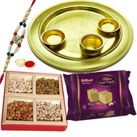 Fabulous Rakhi Special Golden Plated Lota Puja Thali Hamper with Sweets, Dry Fruits, Rakhi, Roli Tilak n Chawal
