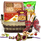 Wonderful Sweet and Spicy Delicacies Hamper with a free Rakhi, Roli Tilak and Chawal