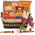 Amazing Rakhi Special Sweet N Spicy Gift Basket with Free Rakhi, Roli Tilak and Chawal