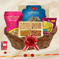 Classic Rakhi Gift Basket of Sweet n Savory Delights with Free Rakhi, Roli Tilak and Chawal for your Caring Brother