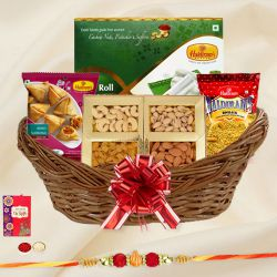 Classic Gift Basket of Sweet N Salty Assortments with Free Rakhi, Roli Tilak and Chawal for your Dear Brother