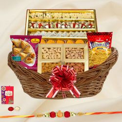 Dazzling Gift Hamper of Sweet N Salty Assortments with a free Rakhi, Roli Tilak and Chawal on Raksha Bandhan <br><br>