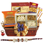 Lovely Rakhi Delicacies Gift Hamper with Free Rakhi, Roli Tilak and Chawal for your Loving Brother