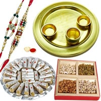 Traditional Arrangement of Pious Gold Plated Thali, Delectable Kaju Katli and Dry Fruits with 2 free Rakhi Roli Tilak and Chawal for Rakhi Celebration