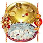 Outstanding Selection of Gold Plated Thali and Delicious <font color=#FF0000>Haldiram</font> Badam Katli with 2 Free Rakhi Roli Tilak and Chawal