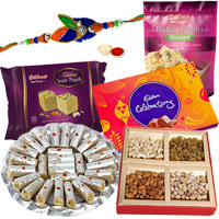 Mesmerizing Hamper of Rakhi Items with a Diamond Kundan Rakhi, Roli Tilak and Chawal for your Loving Brother