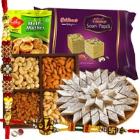 Magnificent Sweet and Salty Rakhi Gift Hamper with Free Rakhi, Roli Tilak and Chawal
