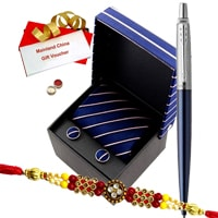 Attractive Rakhi Hamper Gift Set with Rakhi, Roli Tilak N Chawal for your Dear Brother