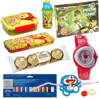 Glamorous Arrangement of Kids Special Gift Hamper with Rakhi, Roli Tilak N Chawal for your Cute Brother