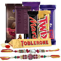 Delicious Chocolate Gift Hamper with Beautiful Floral Rakhi