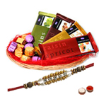 Yummy Chocolate Gift Basket with Pearl Rakhi