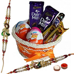 Wonderful Chocolate Gift Hamper with Peacock Shaped Rakhi
