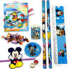 Entrancing Mickey Mouse Stationery Set, Cadbury Eclairs anda Mickey Rakhi and Roli Tilak Chawal
