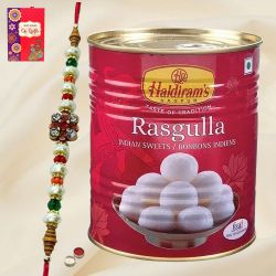 Tasty Rasgulla from Haldiram with Designer Rakhi with Free Roli Tika and Chawal