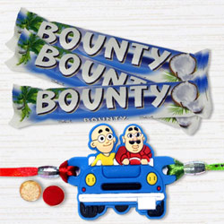 Admirable Motu Patlu Rakhi with Bounty Chocolates