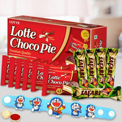 Doraemon Rakhi with Safari Chocolate and Lotte Chocopie