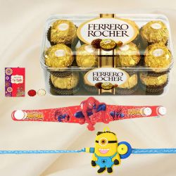 Spider Man and Minion Rakhi Set with Ferrero Rocher