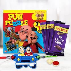 Motu Patlu Rakhi, Puzzle Set with Cadbury Dairy Milk Chocolates