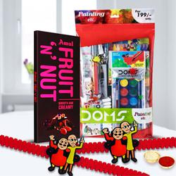 Remarkable Doms Painting Kit with Twin Rakhi and Amul Chocolate Bar