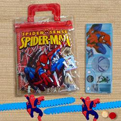 Spiderman Stationery Set with Pencil Box and Rakhi for Kids