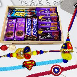 Combo of Assorted Chocolates n Family Set Rakhi