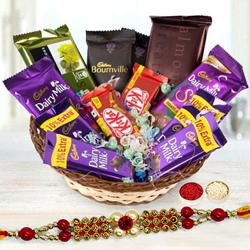 Basket of Assorted Chocolates with Twin Designer Rakhi