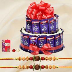 Double Deck Cadbury Arrangement with Two Rudraksha Rakhi