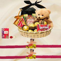 Chocolates Basket with Teddy N Twin Kids Rakhi