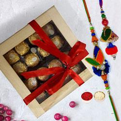 Delicious Ferrero Rocher in Wooden Box with Rakhi