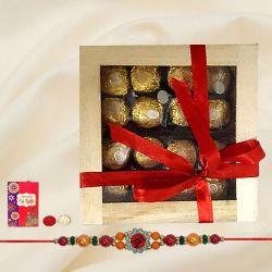 Exclusive Ferrero Rocher in Wooden Box with Rakhi